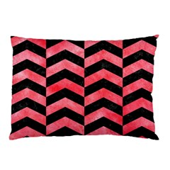 Chevron2 Black Marble & Red Watercolor Pillow Case by trendistuff