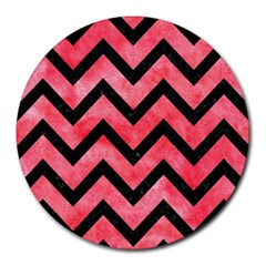 Chevron9 Black Marble & Red Watercolor Round Mousepads by trendistuff
