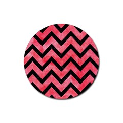 Chevron9 Black Marble & Red Watercolor Rubber Coaster (round)  by trendistuff