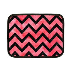 Chevron9 Black Marble & Red Watercolor Netbook Case (small)  by trendistuff