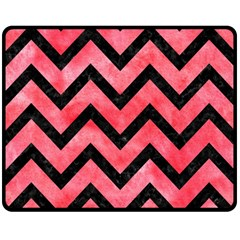 Chevron9 Black Marble & Red Watercolor Double Sided Fleece Blanket (medium)