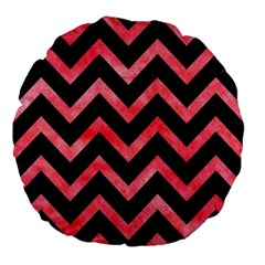 Chevron9 Black Marble & Red Watercolor (r) Large 18  Premium Flano Round Cushions by trendistuff