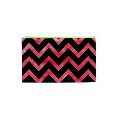 Chevron9 Black Marble & Red Watercolor (r) Cosmetic Bag (xs) by trendistuff