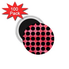 Circles1 Black Marble & Red Watercolor 1 75  Magnets (100 Pack)  by trendistuff