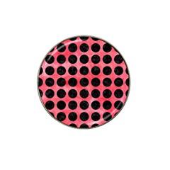 Circles1 Black Marble & Red Watercolor Hat Clip Ball Marker (10 Pack) by trendistuff
