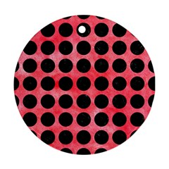 Circles1 Black Marble & Red Watercolor Round Ornament (two Sides) by trendistuff