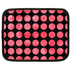 Circles1 Black Marble & Red Watercolor (r) Netbook Case (xl)