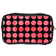 Circles1 Black Marble & Red Watercolor (r) Toiletries Bags 2 Side