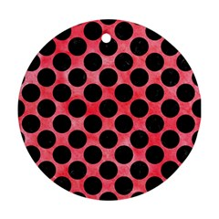 Circles2 Black Marble & Red Watercolor Ornament (round) by trendistuff