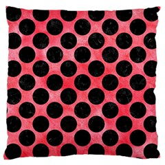 Circles2 Black Marble & Red Watercolor Large Cushion Case (two Sides) by trendistuff