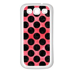 Circles2 Black Marble & Red Watercolor Samsung Galaxy S3 Back Case (white) by trendistuff