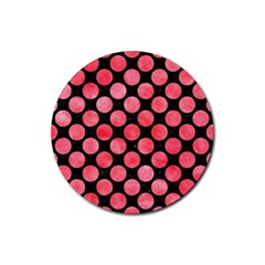 Circles2 Black Marble & Red Watercolor (r) Rubber Coaster (round)  by trendistuff