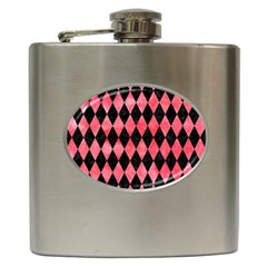 Diamond1 Black Marble & Red Watercolor Hip Flask (6 Oz)