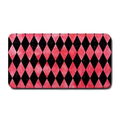 Diamond1 Black Marble & Red Watercolor Medium Bar Mats by trendistuff