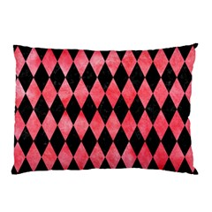 Diamond1 Black Marble & Red Watercolor Pillow Case by trendistuff