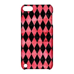 Diamond1 Black Marble & Red Watercolor Apple Ipod Touch 5 Hardshell Case With Stand by trendistuff