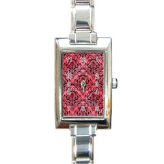Damask1 Black Marble & Red Watercolor Rectangle Italian Charm Watch by trendistuff