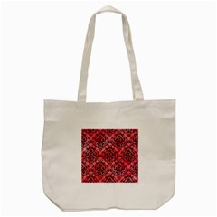 Damask1 Black Marble & Red Watercolor Tote Bag (cream) by trendistuff