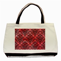 Damask1 Black Marble & Red Watercolor Basic Tote Bag by trendistuff