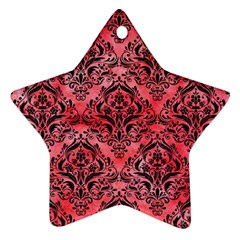 Damask1 Black Marble & Red Watercolor Star Ornament (two Sides) by trendistuff