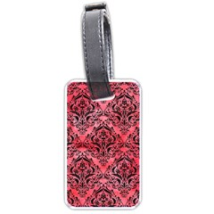 Damask1 Black Marble & Red Watercolor Luggage Tags (one Side)  by trendistuff