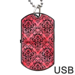 Damask1 Black Marble & Red Watercolor Dog Tag Usb Flash (one Side)