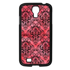 Damask1 Black Marble & Red Watercolor Samsung Galaxy S4 I9500/ I9505 Case (black) by trendistuff