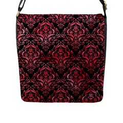 Damask1 Black Marble & Red Watercolor (r) Flap Messenger Bag (l)
