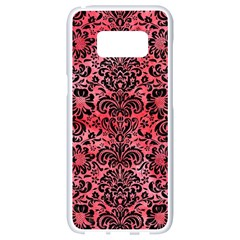 Damask2 Black Marble & Red Watercolor Samsung Galaxy S8 White Seamless Case by trendistuff