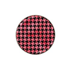 Houndstooth1 Black Marble & Red Watercolor Hat Clip Ball Marker (10 Pack) by trendistuff