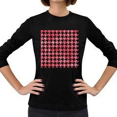 Houndstooth1 Black Marble & Red Watercolor Women s Long Sleeve Dark T Shirts by trendistuff
