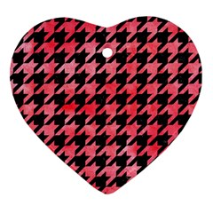 Houndstooth1 Black Marble & Red Watercolor Heart Ornament (two Sides) by trendistuff