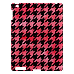 Houndstooth1 Black Marble & Red Watercolor Apple Ipad 3/4 Hardshell Case by trendistuff