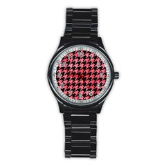 Houndstooth1 Black Marble & Red Watercolor Stainless Steel Round Watch by trendistuff