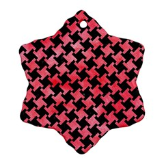 Houndstooth2 Black Marble & Red Watercolor Snowflake Ornament (two Sides) by trendistuff
