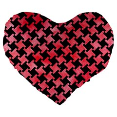 Houndstooth2 Black Marble & Red Watercolor Large 19  Premium Heart Shape Cushions by trendistuff
