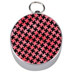 Houndstooth2 Black Marble & Red Watercolor Silver Compasses by trendistuff
