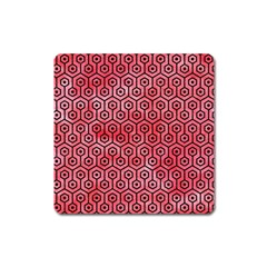 Hexagon1 Black Marble & Red Watercolor Square Magnet by trendistuff