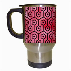 Hexagon1 Black Marble & Red Watercolor Travel Mugs (white) by trendistuff
