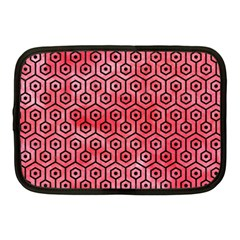 Hexagon1 Black Marble & Red Watercolor Netbook Case (medium)