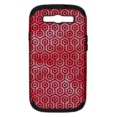 Hexagon1 Black Marble & Red Watercolor Samsung Galaxy S Iii Hardshell Case (pc+silicone) by trendistuff