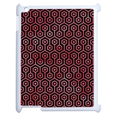 Hexagon1 Black Marble & Red Watercolor (r) Apple Ipad 2 Case (white) by trendistuff