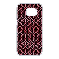Hexagon1 Black Marble & Red Watercolor (r) Samsung Galaxy S7 Edge White Seamless Case