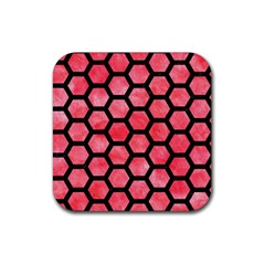 Hexagon2 Black Marble & Red Watercolor Rubber Square Coaster (4 Pack)  by trendistuff