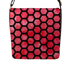 Hexagon2 Black Marble & Red Watercolor Flap Messenger Bag (l)