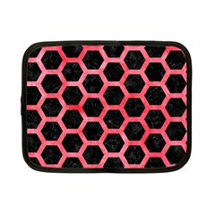 Hexagon2 Black Marble & Red Watercolor (r) Netbook Case (small)