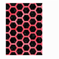 Hexagon2 Black Marble & Red Watercolor (r) Large Garden Flag (two Sides) by trendistuff