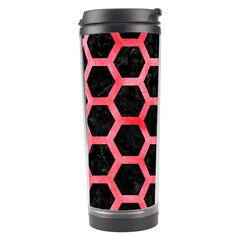 Hexagon2 Black Marble & Red Watercolor (r) Travel Tumbler by trendistuff