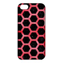 Hexagon2 Black Marble & Red Watercolor (r) Apple Iphone 5c Hardshell Case by trendistuff