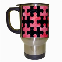 Puzzle1 Black Marble & Red Watercolor Travel Mugs (white) by trendistuff